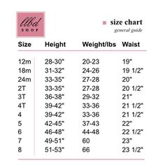 Young girl waist size chart