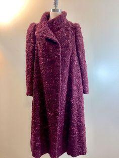 $356.00 True Vintage 1970s Arnold Scaasi Couture Wool Purple Boucle Coat 36 Bust #ArnoldScaasi