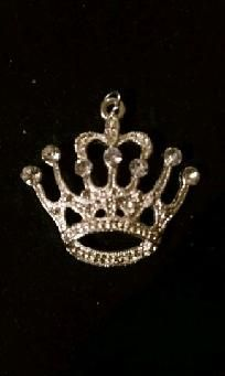 "SILVER 2"" CRYSTAL CROWN PENDANT - FREE SHIPPING"