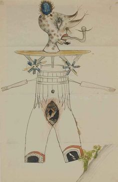 """Yves Tanguy(French, 1900 - 1955) """"Cadavre exquis"""", N/D  Wax crayon, pen and ink"""