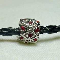 Diamond Pattern Red Crystal  Spacer Bead  by StonehouseCreations, $3.95
