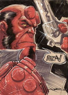 :iconcinar: Hellboyby Cinar Cartoons & Comics / Traditional Media / Comics / Cinar A gift for the very talented ~rizaturk. Hellboy Characters, Comic Book Characters, Comic Book Heroes, Comic Character, Comic Books Art, Comic Art, Character Design, Mike Mignola, Hellboy Wallpaper