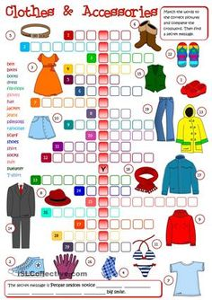A crossword to practise clothes vocabulary. Greyscale and KEY included. Hope you like it. Have a nice weekend mada :)  - ESL worksheets