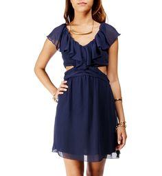 Navy Ruffle Cutout Dress