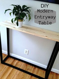 Future Home - N DIY Modern Entryway Table - Mom in Music City Buying Gently Used Baby Clothing Artic Entryway Table Modern, Entryway Decor, Entryway Tables, Entry Table Diy, Diy Furniture Table, Furniture Projects, Wood Projects, Lathe Projects, Furniture Websites