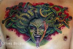 www.ettore-bechis.com #medusatattoo done with tubes and needles by @kingpintattoosupply #tattoomachine by @hatchback_irons #medusa #tattoo #inkedup #ink #inked #miamibeach #miami #tattooartist #tattooart best tattoo shop in Miami