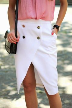 1dc84ef317f ZARA WHITE CROSSOVER MIDI SKIRT WITH GOLD BUTTONS TOTALLY SOLD OUT!!  BLOGGERS !