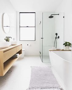 Bathroom decor for your bathroom remodel. Discover master bathroom organization, master bathroom decor suggestions, master bathroom tile suggestions, bathroom paint colors, and more. Tiny House Bathroom, Wood Bathroom, Bathroom Layout, Modern Bathroom Design, White Bathroom, Bathroom Interior, Small Bathroom, Bathroom Ideas, Minimal Bathroom