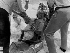 From 1966: One of the original Cybermen gets a hand while filming The Tenth Planet.
