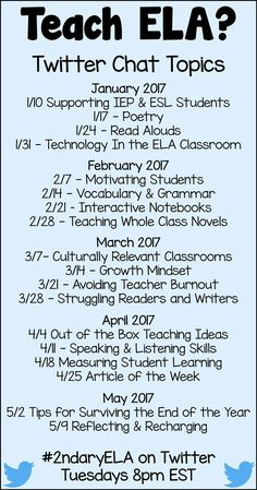 Join other Grades 6 - 12 English teachers each week on Twitter as we discuss various topics relevant to us! Not on Twitter? Join our Facebook group.