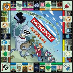 Futurama Collector's Edition Monopoly game board. Good news, everyone! The World of Tomorrow now features the board game of yesterday!   Buy it now! http://www.amazon.com/Monopoly-MN006-312-Futurama-Collectors-Edition/dp/B005OEDSXS/ref=sr_1_1?s=toys-and-games=UTF8=1373493655=1-1=futurama+monopoly  Want more info? http://www.usaopoly.com/games/monopoly-futurama-collectors-edition