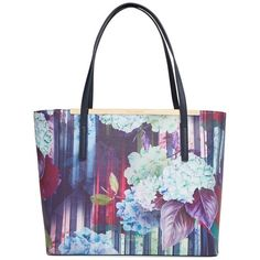 Ted Baker London 'Hydrangea' Floral Print Shopper (875 PEN) ❤ liked on Polyvore featuring bags, handbags, tote bags, dark blue, zip top tote, white leather tote, white leather purse, white tote and leather handbags