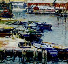 """""""Docks in Winter,"""" Charles Salis Kaelin, oil on canvas, 18 x 20"""", private collection."""
