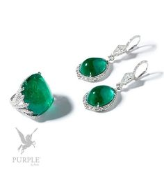 Perfectly match with your fashion! This stunning ring: set with cabochon-cut diamonds 2.69 cts and colombian emerald 44.21 cts mounted in platinum. -- earrings: set with pear shape cabochon-cut diamonds 2.65 cts and Colombian emeralds 32.91 cts mounted in platinum by @bayco #purplebyanki #diamonds #luxury #loveit #jewelry #jewelrygram #jewelrydesigner #love #jewelrydesign #finejewelry #luxurylifestyle #instagood #follow #instadaily #lovely #me #beautiful #loveofmylife #dubai #dubaifashion…
