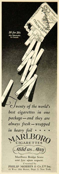 1927 Ad Vintage Marlboro Cigarettes Philip Morris Tobacco Smoking Package Pack MILD AS MAY LOOOOOL