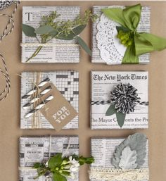 Upcycled newspaper as wrapping. Love this color scheme.