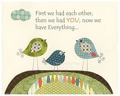Kids Room Nursery wall art Decor Children Art print Play room Nursery wall art print, Baby Room Decor, Birds, First we had each other, Birds Orange Green Tan Navy Blue. >>> You can get additional details at the image link.
