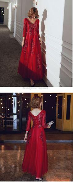long sleeve formal dress #formaldress Formal Dresses With Sleeves, Burgundy, Tulle, Prom Dresses, Lace Up, V Neck, Long Sleeve, Fashion, Moda