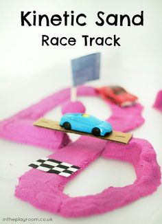 Kinetic Sand Race Track - In The Playroom Sensory Activities, Sensory Play, Infant Activities, Motor Activities, Classroom Activities, Trains Preschool, Kinetic Sand, Summer Activities For Kids, Kids Fun