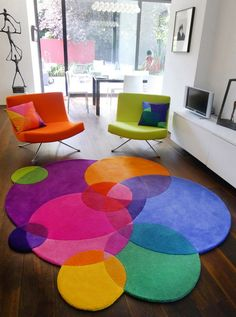 Bubbles Square - Contemporary Modern Area Rugs by Sonya Winner - contemporary - Rugs - London - Sonya Winner Rug Studio Colourful Living Room, Colorful Rugs, Colorful Pillows, Colorful Playroom, Colorful Chairs, Colorful Decor, Living Room Decor, Bedroom Decor, Dining Room