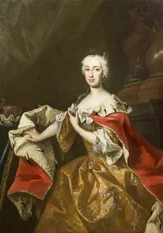 Johann Gottfried Auerbach (1697–1753)   Maria Anna of Austria (1718-1744), Governor of the Austrian Netherlands and sister of the Empress Maria Theresa of Austria 1740s Variant of the robe de cour with loose sleeves.