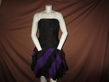 Vintage TADASHI Strapless Purple Black Pleated Ruffled Party Coctail Dress 8