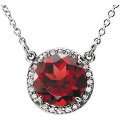 "14kt White Gold Mozambique Garnet & .05 CTW Diamond 16"" Necklace...(85905:70004:P).! Price: $369.99 #diamonds #gemstone #birthstone #fashion #jewelry #love #gift"