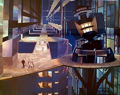 Forbidden Planet (1956) Matte art was used brilliantly to create a sense of mind-numbing vastness of scale of the Krell scientific complex as the flea-sized characters make their way along the passageways, guided by Dr. Morbius. http://scififilmfiesta.blogspot.com.au/2015/02/forbidden-planet-1956.html