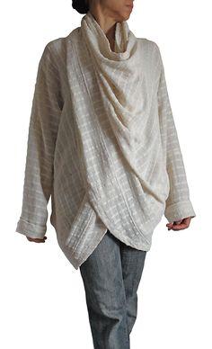 ターポン手織り綿のねじれデザイン羽織プルオーバー   JFS-061-02