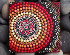 Dot Painting, Fire Design, Biripi Artist Raechel Saunders, x canvas board… Aboriginal Dot Painting, Dot Art Painting, Acrylic Painting Canvas, Stone Painting, Canvas Art, Painting Tools, Mandala Art, Mandala Painting, Kunst Der Aborigines