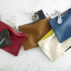 I love the Everyday Leather Zip Pouch on markandgraham.com; corner monogram is unexpected and cool