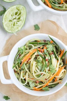 A great low carb option - Cucumber Noodles with Sesame Soy Dressing | This Gal Cooks