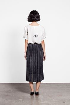 Eye shirt. Skirt. Shoes.