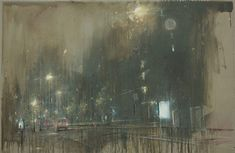 "Nathan Ford, ""Whilst Learning To Fly,"" acrylic and oil paint used to create a focal point on a street view whilst paint drips down and the image becomes blurred around the edges Landscape Artwork, Urban Landscape, Nocturne, Ford, Modern Art, Contemporary Art, Mid Century Art, Historical Art, Community Art"