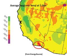Map of Western US Reservoir Temperatures, with Salton Sea/Brawley field circled