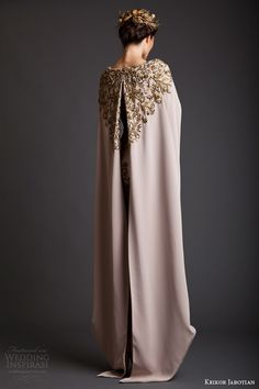krikor jabotian spring 2014 couture akhtamar short wedding dress embroidered floor length cape back view -- Krikor Jabotian Spring 2014 Dresses Krikor Jabotian, Mode Abaya, Style Haute Couture, Collection Couture, Bridal Collection, Spring Collection, Fantasy Dress, Fantasy Queen, Mode Inspiration