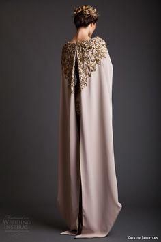 krikor jabotian spring 2014 couture akhtamar short wedding dress embroidered floor length cape back view