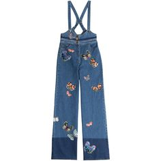 Valentino Denim Overalls (€1.240) ❤ liked on Polyvore featuring jumpsuits, rompers, blue, blue rompers, denim overalls, denim rompers, blue denim overalls and denim bib overalls