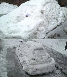 The snow/ice sculpture of a Volkswagen Beetle that was ticketed for being parked in a no-parking zone.