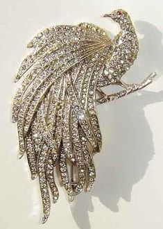 Peacock Art Deco Brooch / Pin in Rhinestones.@Francene Perel: Vintage 1930's