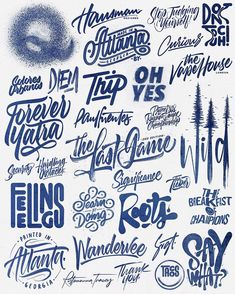 Lettering & Calligraphy Logos by David Milan on Behance Hand Lettering Art, Lettering Styles, Graffiti Lettering, Typography Letters, Typography Logo, Graphic Design Typography, Logos, Logo Design, Lettering Tattoo