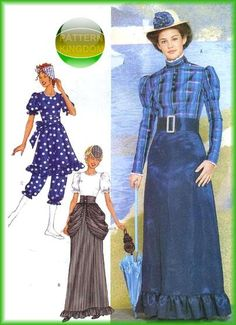 Butterick 3187 Ladies Victorian Swimsuit Bathing Dress Patterns