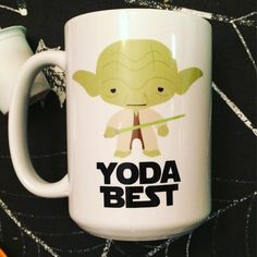 Star Wars Yoda Best Coffee Mug Customize it by embeemugs on Etsy