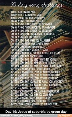 30 day song challenge-- going to turn it into a writing challenge. Could make a playlist of all these songs, one day at a time