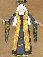 Este es un ejemplo de vestimenta medieval en mujeres.