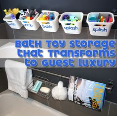 THE BEST BATH TUB TOY STORAGE! A clever & cheap Ikea hack for pretty bath tub toy storage that actually drains propery AND that quickly transforms to hold adult bath essentials when you have guests visiting! Bathtub Toy Storage, Diy Bathtub, Kids Storage, Storage Ideas, Toy Organization, Bathroom Organization, Bathroom Storage, Organizing Tips, Organized Bathroom
