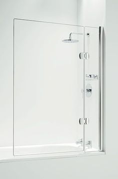Shower over bath, simple, frameless glass shower screen.