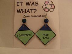 Monopoly board earrings