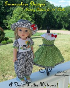 A Farmcookies original Sewing Pattern-- and my FIRST pattern offering for American Girls new Wellie Wishers,  This pattern has been formatted for Wellie Wishers and there is no guarantee it will fit other 14 dolls.  *****This listing is for a PDF Format Sewing Pattern, NOT the finished clothes.*****  Instant Download after purchase! This pattern is intended for those with sewing experience and an Advanced Beginner skill level. The Romper and Dress are EASY; the Hat is Intermediate.  The…