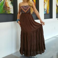 """🆕Sassy Maxi dress NWT Brand new with tags  Fabulous strapless maxi dress in chocolate brown and features an array of colors in chevron print on top. Absolutely perfect for this season!!  100% rayon  Comes with clear straps. Approx length 50"""" 💗Price is firm  💗No trades Dresses Maxi"""